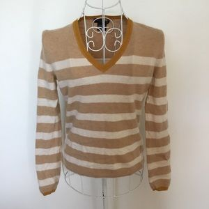 Lord & Taylor striped v neck cashmere sweater